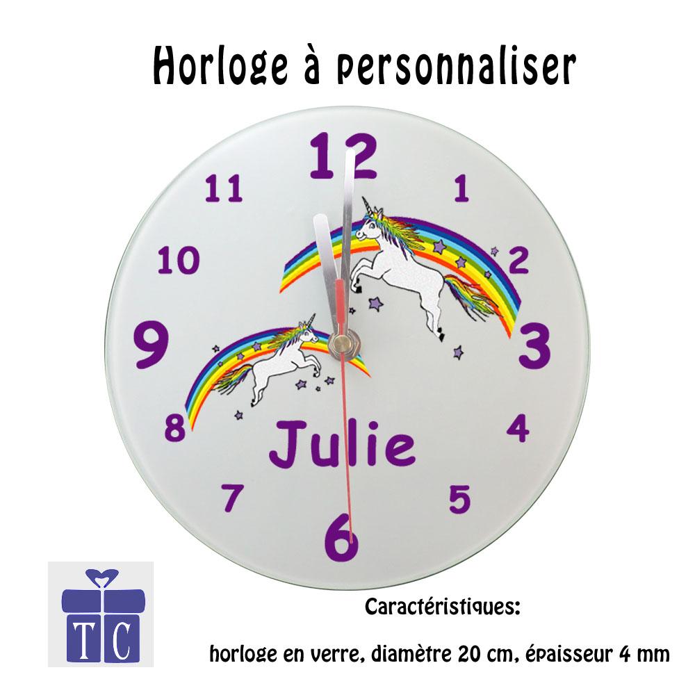 Horloge Licorne à personnaliser