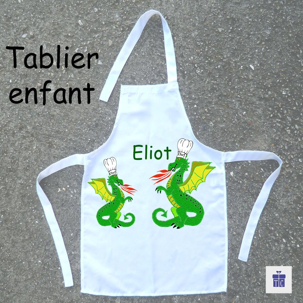 Tablier de cuisine enfant dragon à personnaliser