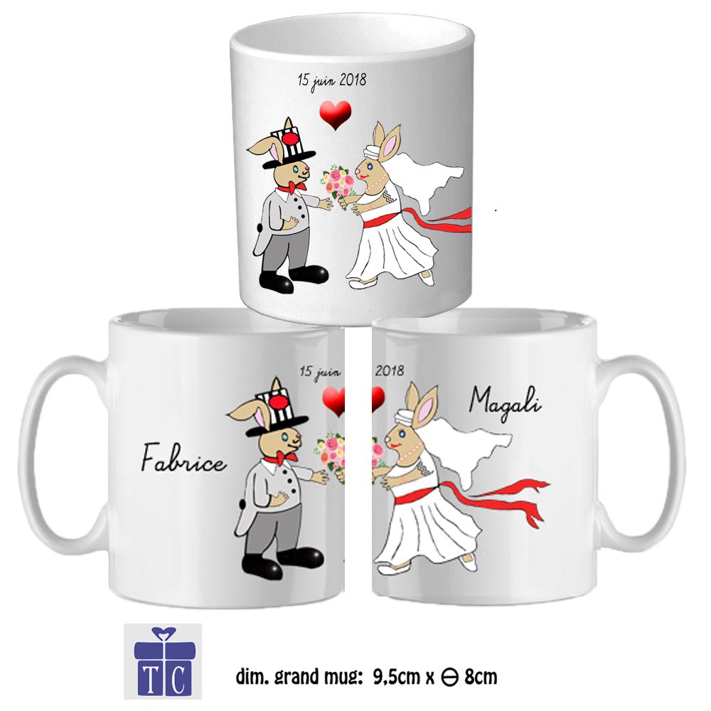 Mug couple Mariés à personnaliser
