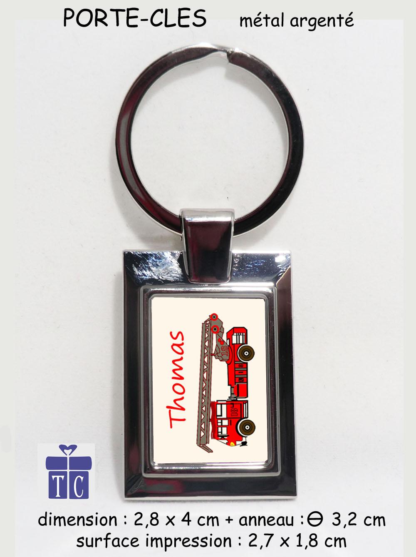 Porte clés camion pompier à personnaliser