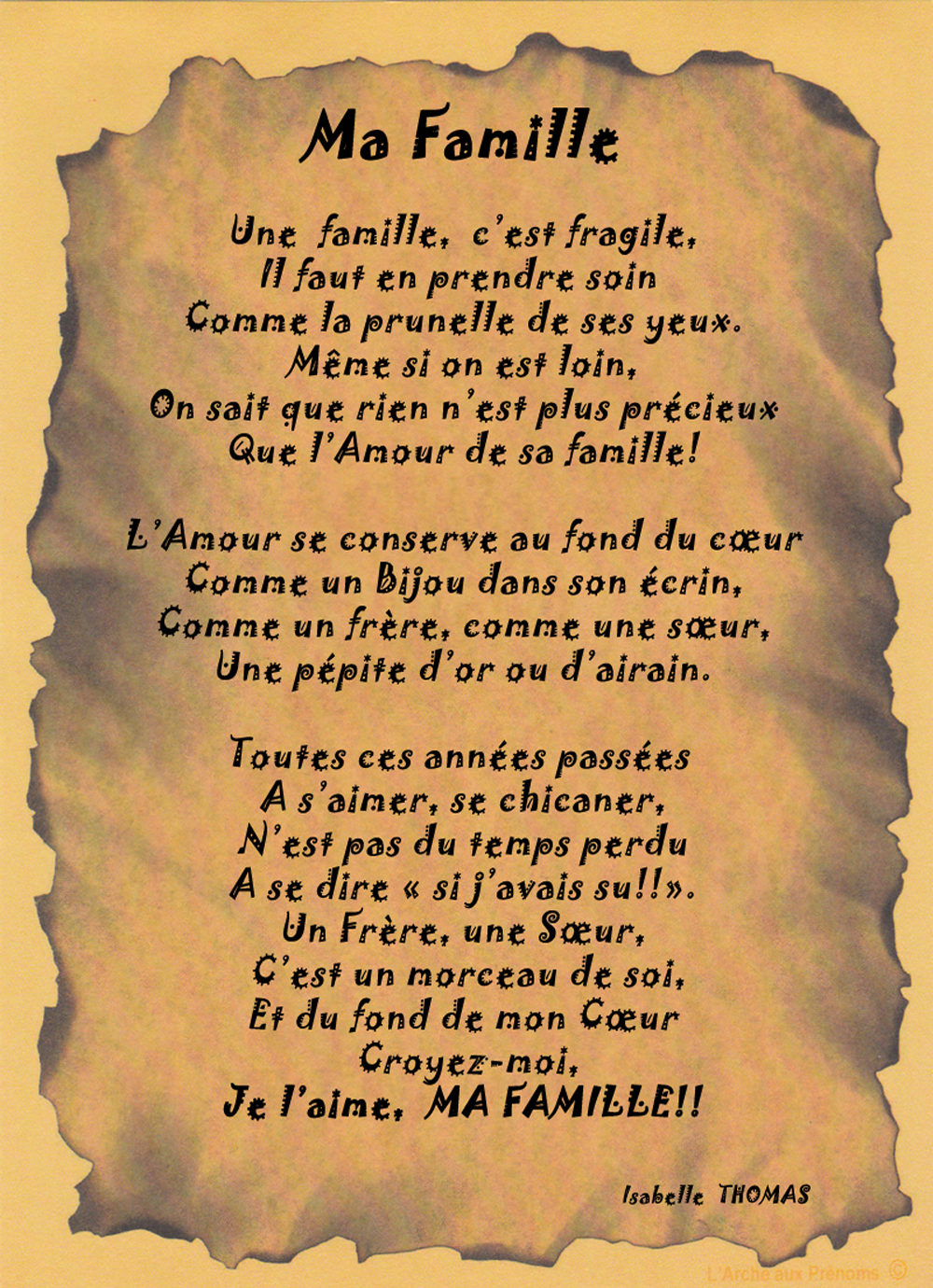Un Poème sur la famille
