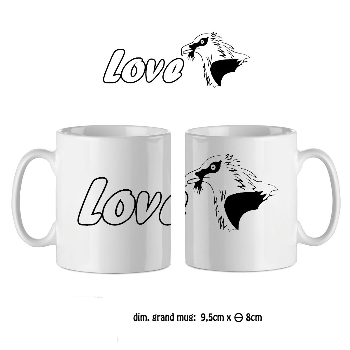 Mug tête d\'aigle love