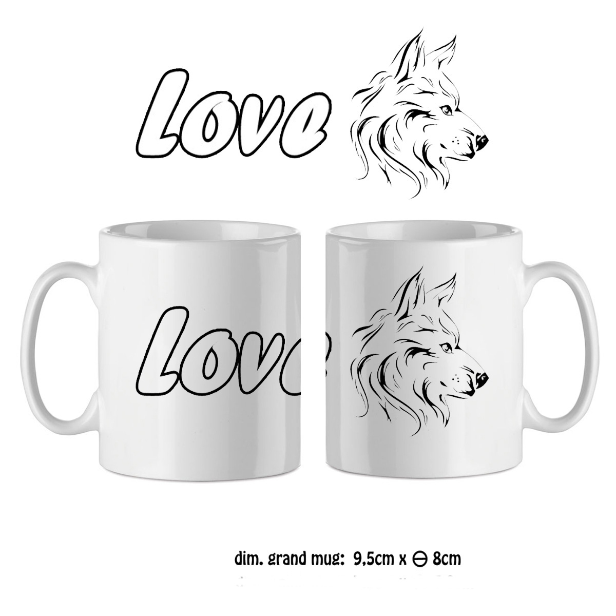 Mug tête de chien love