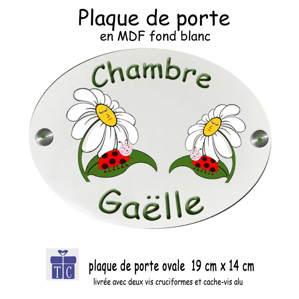 Plaque de porte coccinelle marguerite