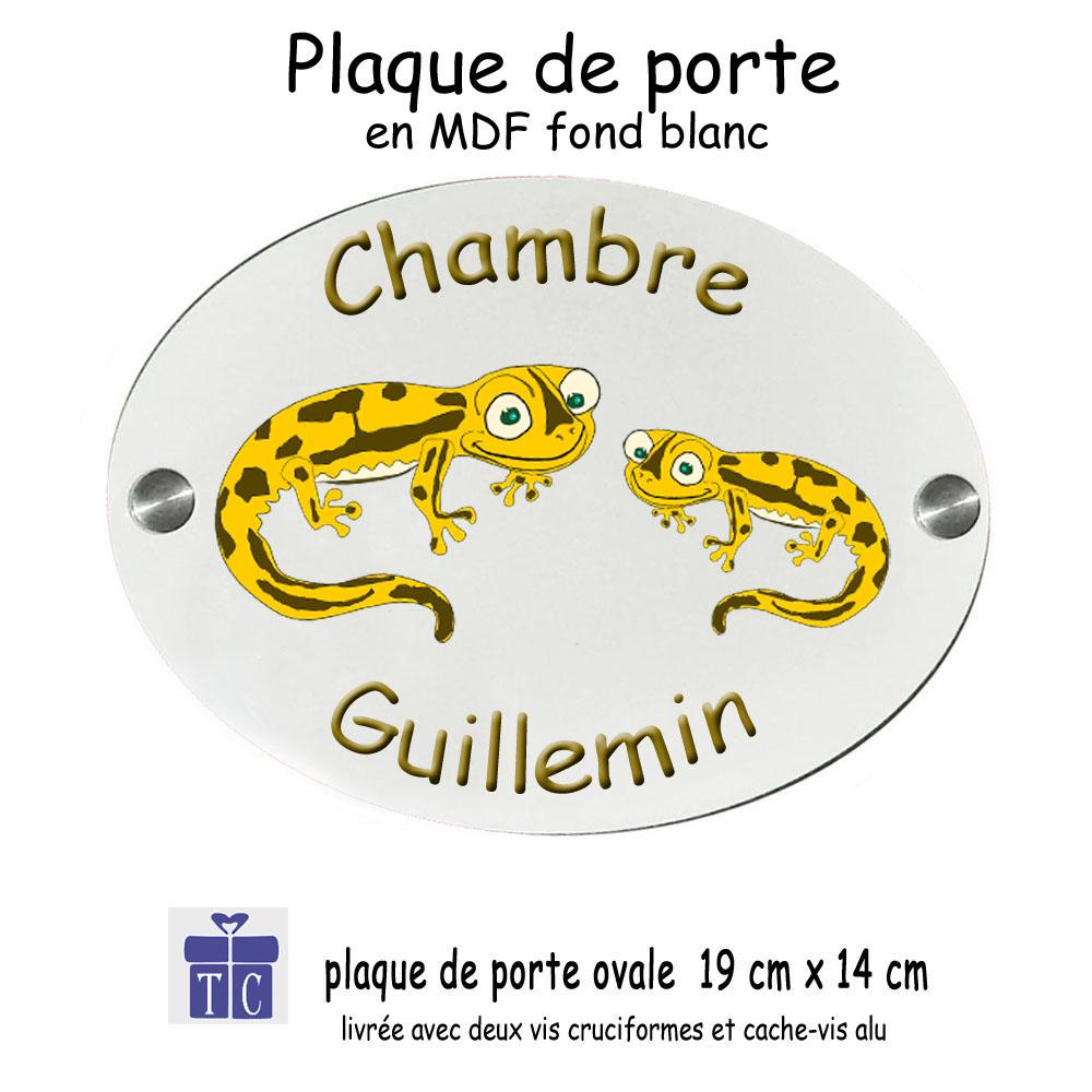 Plaque de Porte de Chambre Salamandre Couleur à Personnaliser avec un Prénom