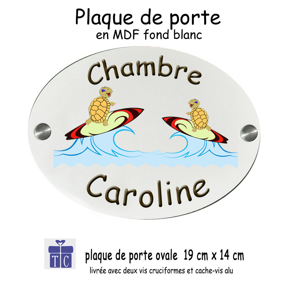 Plaque de porte tortue surf