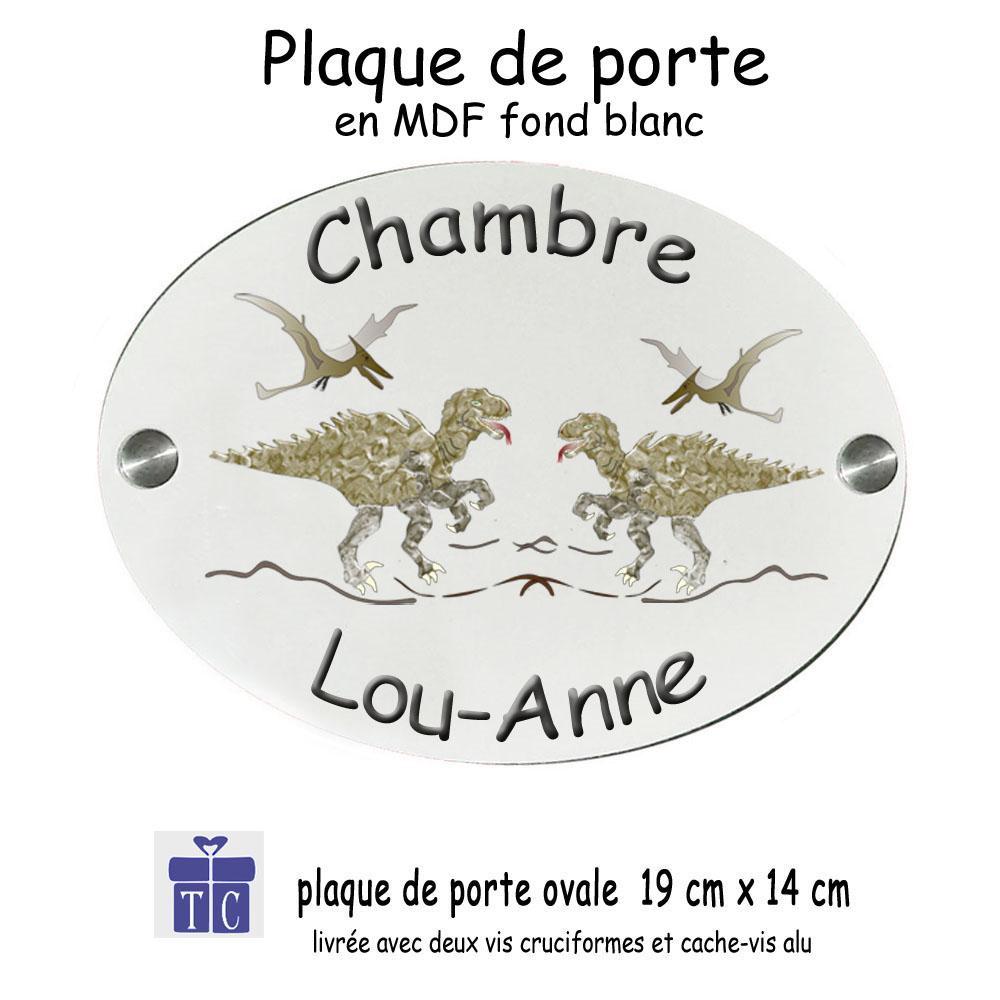 Plaque de porte Dinosaure personnalisable avec un prénom