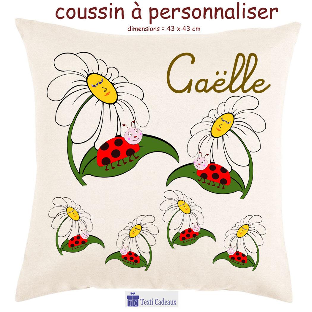 Coussin coccinelle Fleur