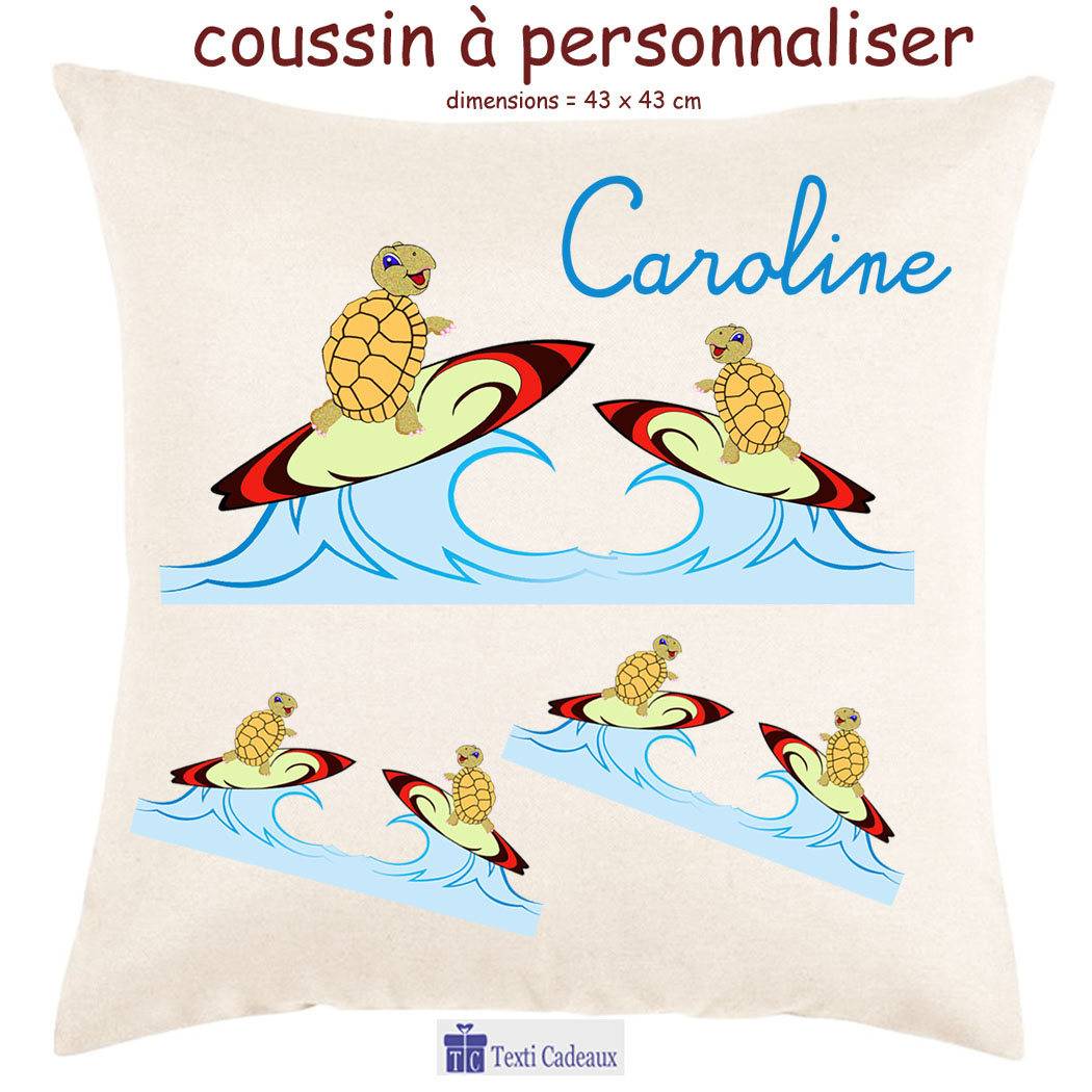Coussin tortue surf