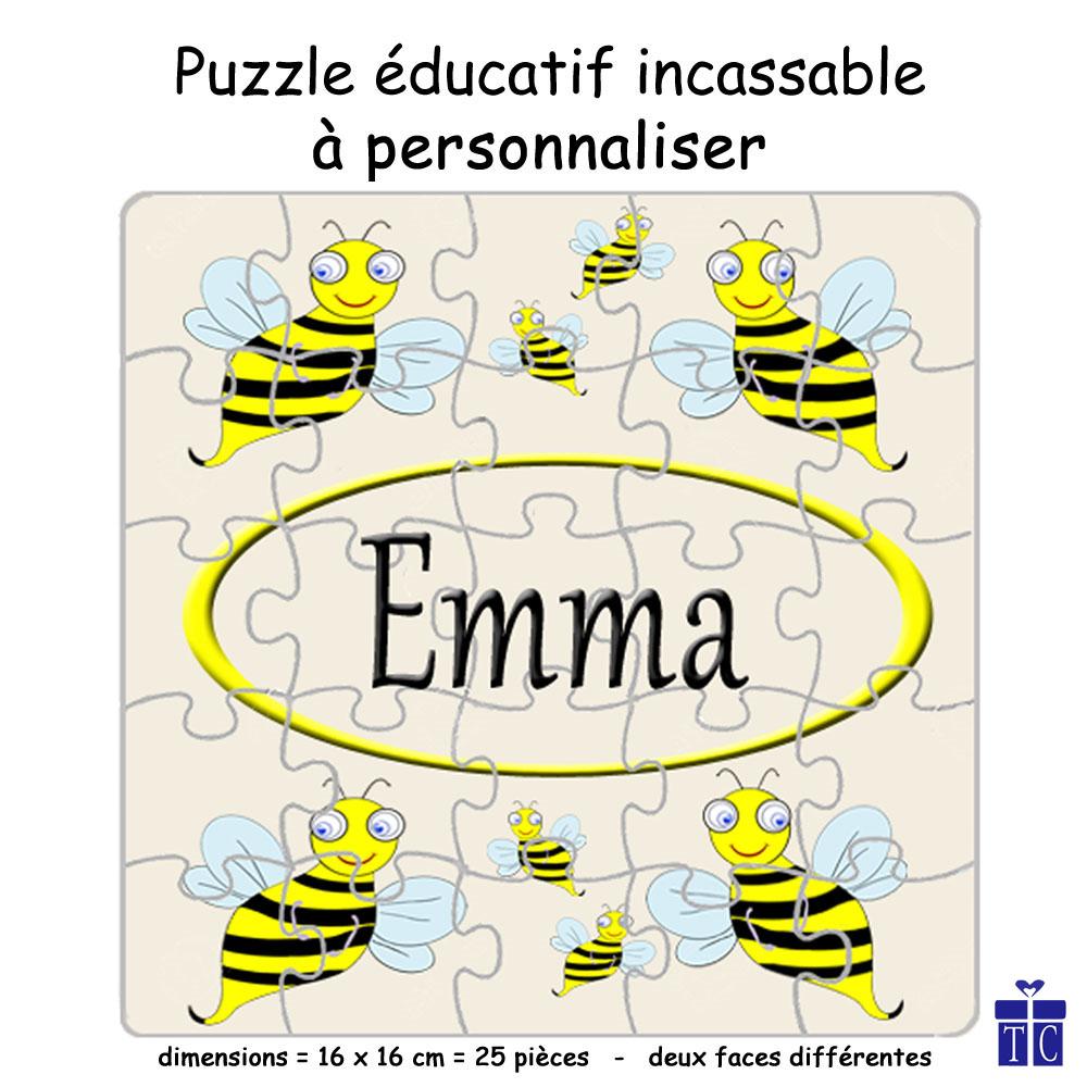 Puzzle Réversible Abeille Personnalisable avec un Prénom