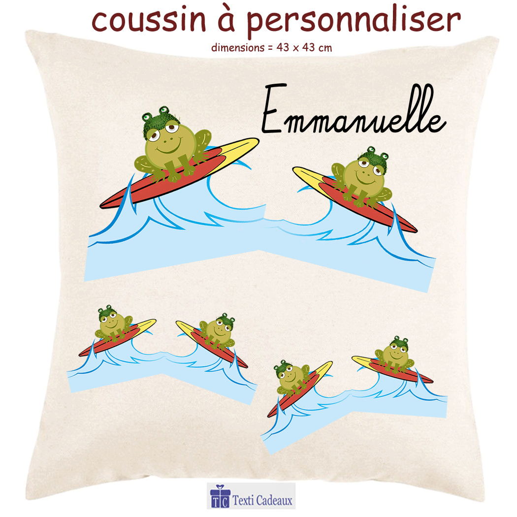 Coussin grenouille surf