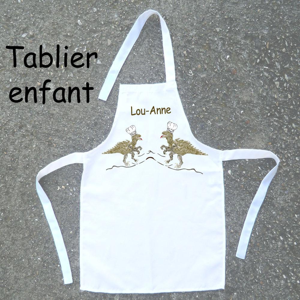 Tablier de Cuisine Enfant Dessin Dinosaure Personnalisable avec un prénom