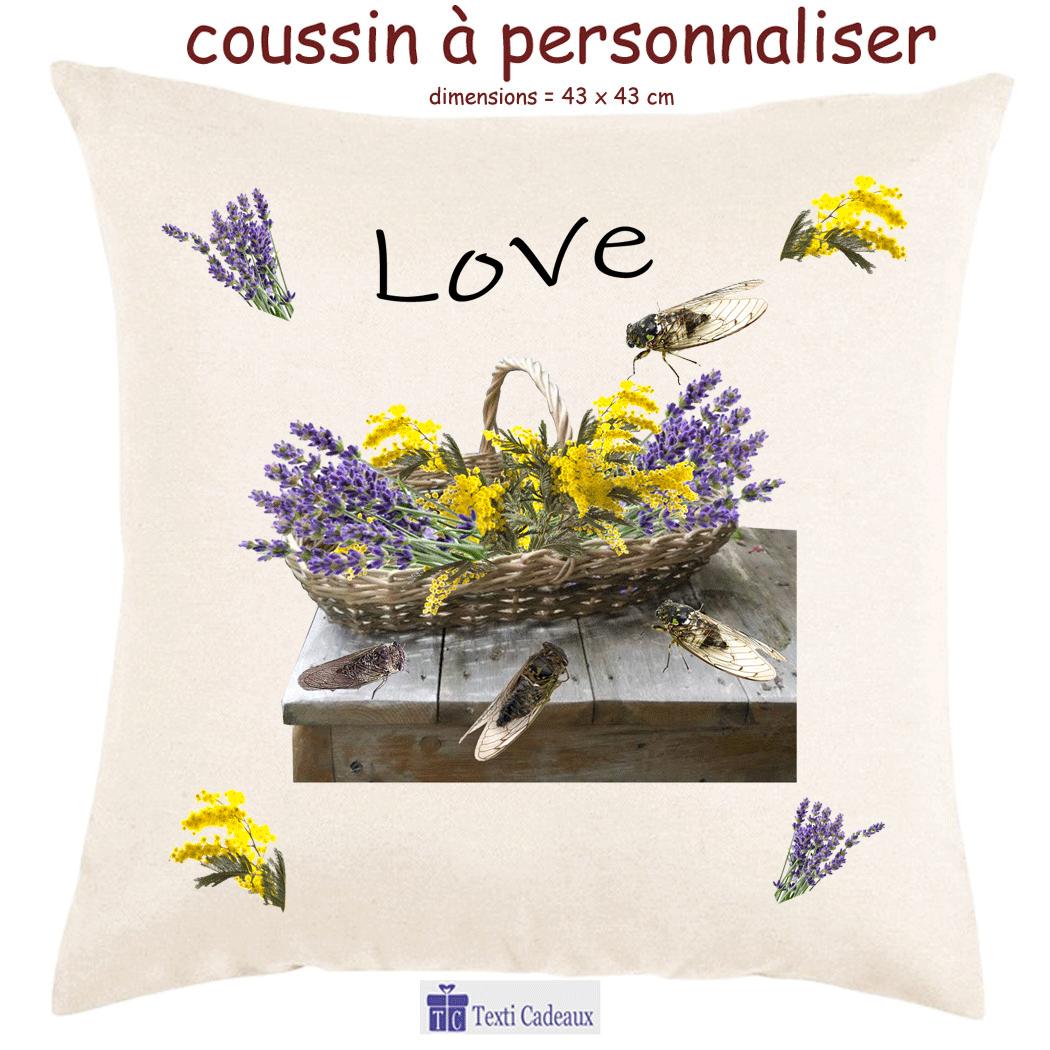 Coussin Provençal Personnalisable avec un Prénom