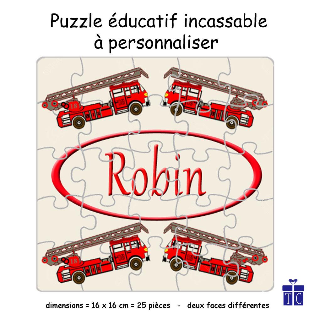 Puzzle camion de pompier Personnalisable avec un Prénom