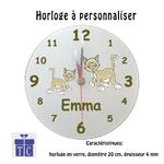Horloge Chat Emma Personnalisable avec un Prénom