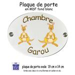 Plaque de Porte de Chambre Kangourou Personnalisable avec un Prénom
