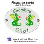 Plaque de Porte de Chambre Dragon Personnalisable avec un Prénom