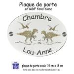 Plaque de Porte de Chambre Dinosaure à Personnaliser avec un Prénom