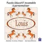 Puzzle Réversible Cheval Personnalisable avec un Prénom