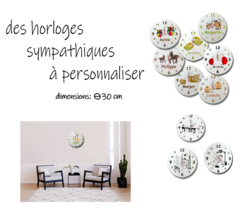 horloge;ronde;verre;personnalisation;personnalisable;personnalise;prenom;theme;animal;metier;cadeau;decoration