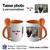 Tasse bicolore avec une cuillère orange personnalisable avec une photo