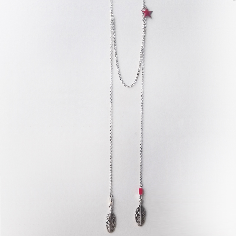 Collier sautoir rouge hippie