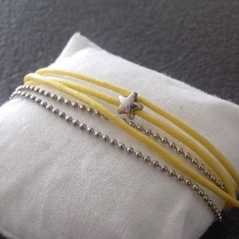 Bracelet jaune 3 fils