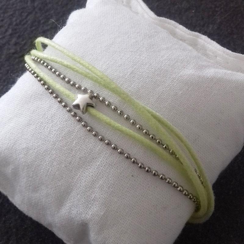 Bracelet vert 3 fils