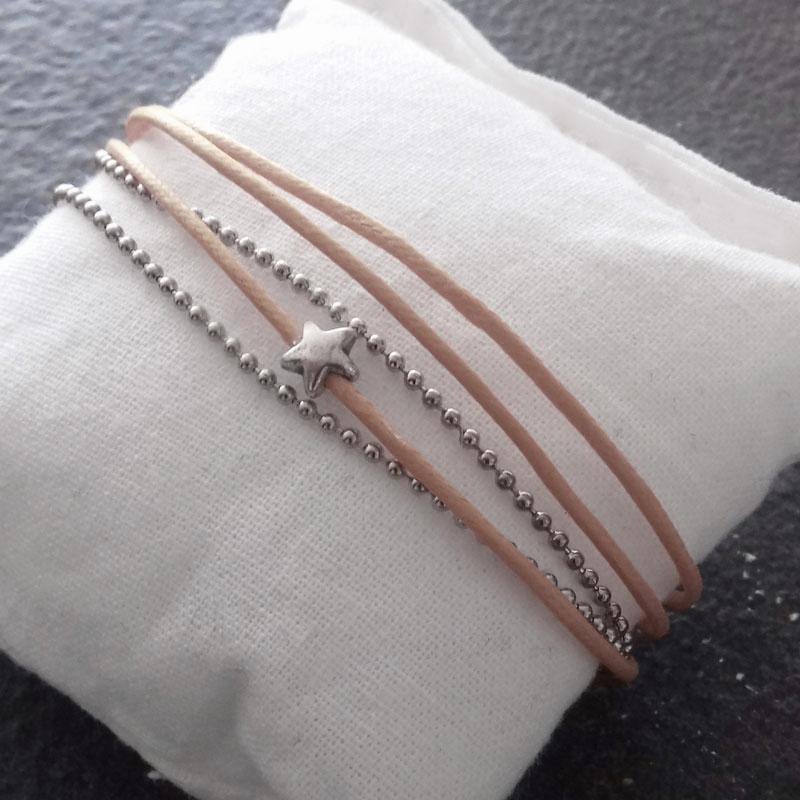 Bracelet beige rosé 3 fils