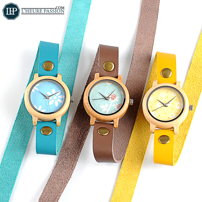 Montre-Bracelet long coloré en bois