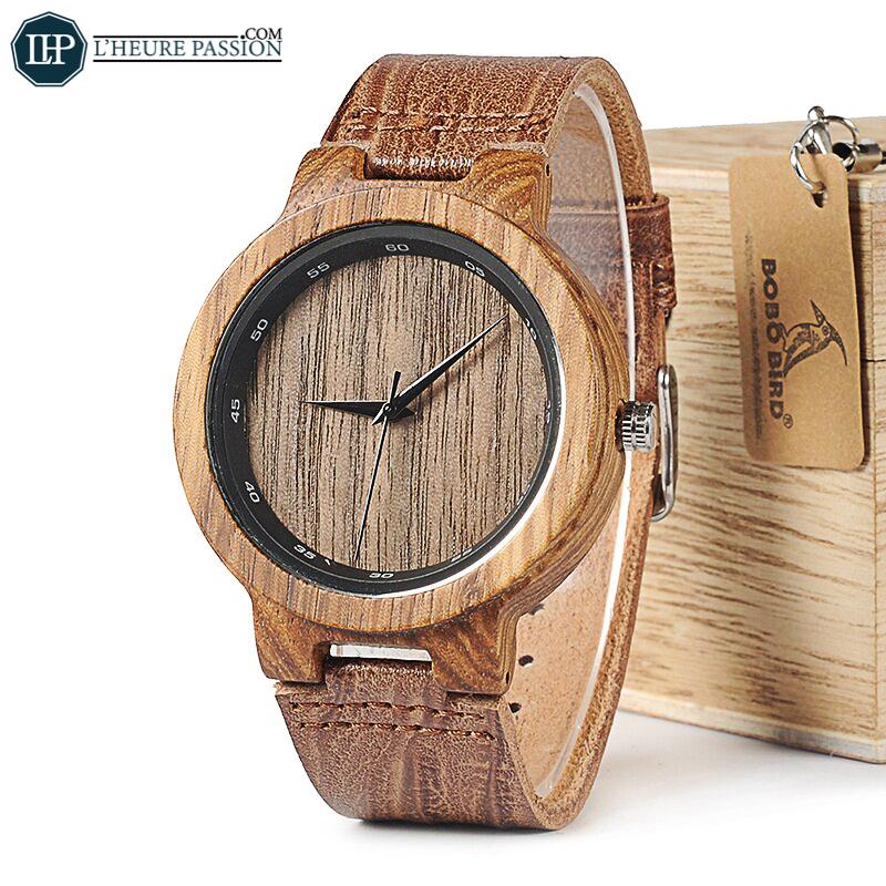 Montre bois homme Grain bracelet en cuir