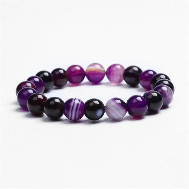 Bracelet spiritualité en agate violette