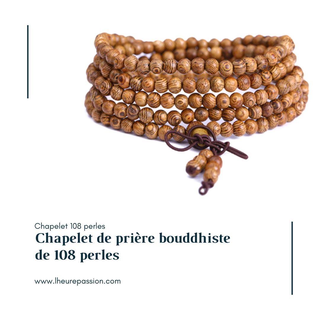 Chapelet de prière bouddhiste de 108 perles
