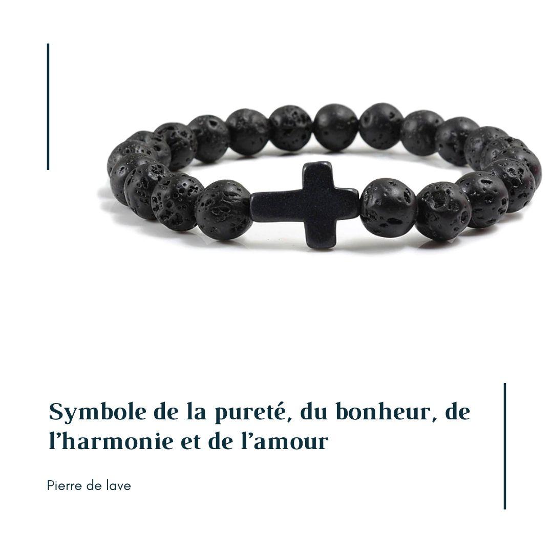 Bracelet homme croix pierre de lave