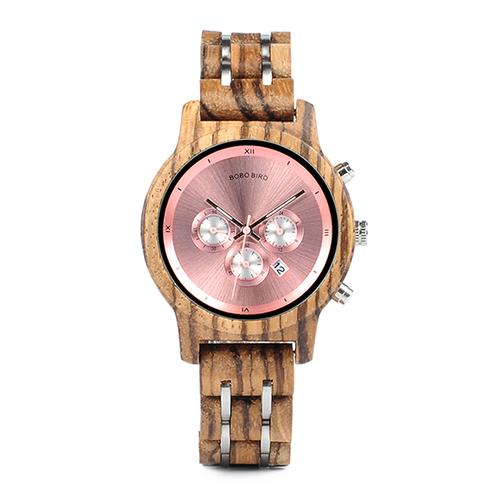Montre chronographe en bois pour femme