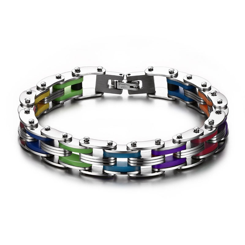 Bracelet chaîne en acier inoxydable Arc-En-Couleur