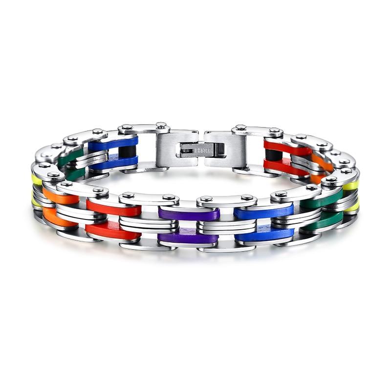 Bracelet arc-en-ciel couleur 316L en acier inoxydable