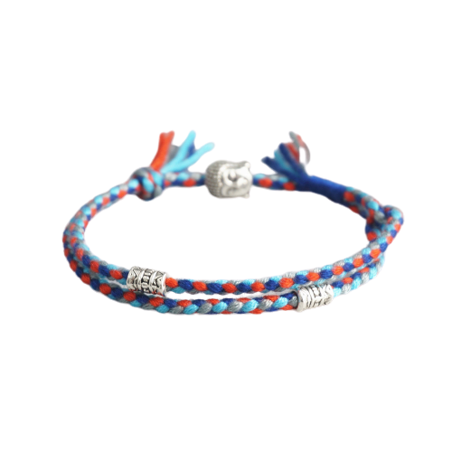 Bracelet tibétain bouddhiste chanceux tissé avec amulette