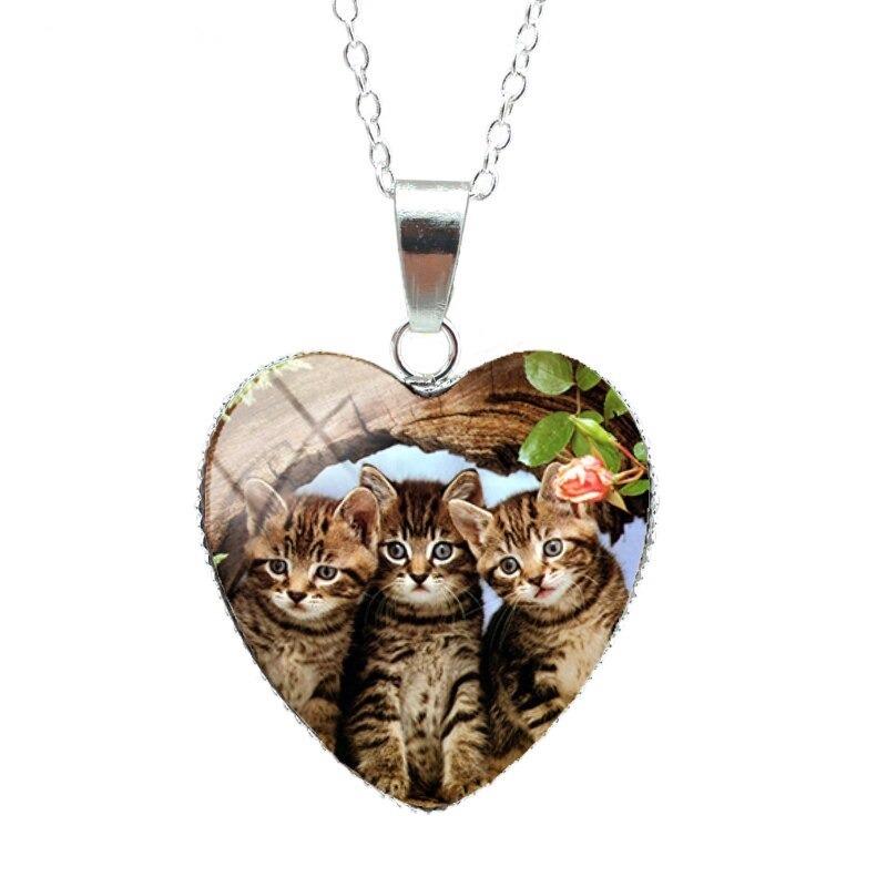 Pendentif en cœur avec photo de chat