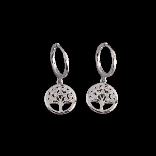 Boucles d\'oreilles en argent sterling arbre de vie