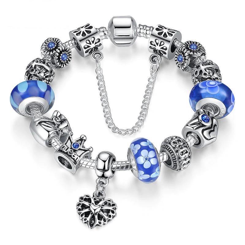 Bracelet fait main avec breloques plaquées, cristaux de Murano étincelants et chaîne de serpent