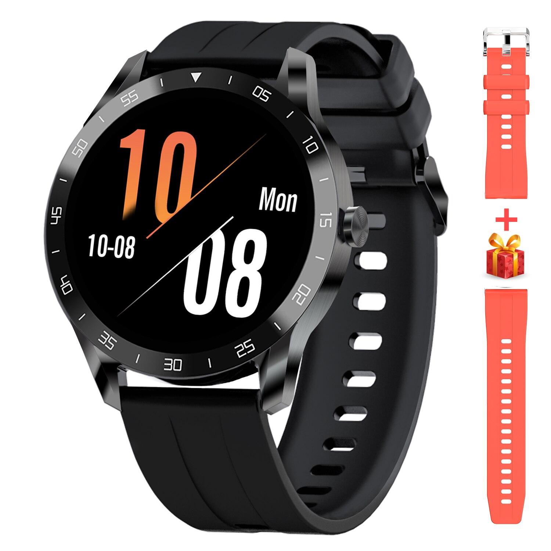 Montre de fitness avec moniteur de fréquence cardiaque, écran tactile de 1,3, podomètre étanche 5ATM (46 mm)
