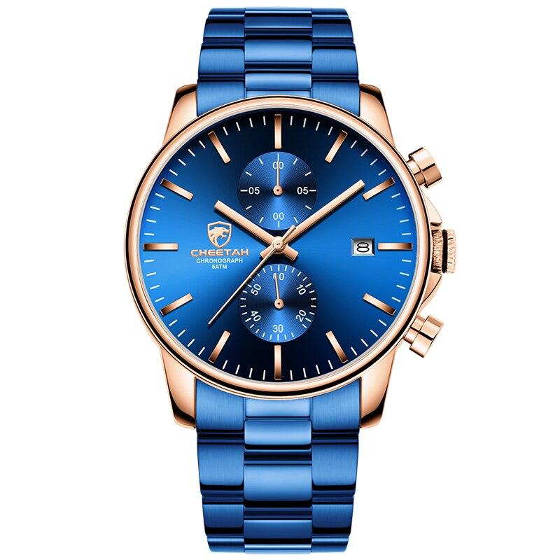 Montre pour homme avec chronographe décontracté noir/argent en acier inoxydable