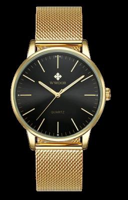 Montre simple au poignet Date analogique avec bracelet en maille d\'acier inoxydable