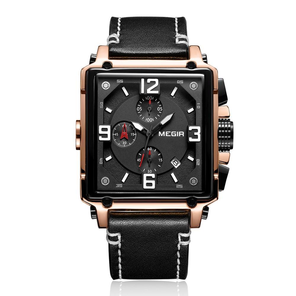 Montre Chronographe à quartz lumineux avec bracelet cuir