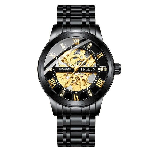 Montre-bracelet de luxe mécanique en acier inoxydable squelette