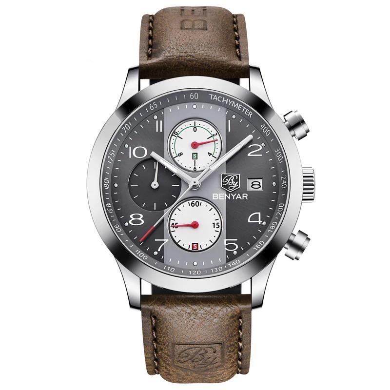 Montre chronographe étanche avec bracelet en cuir pour homme