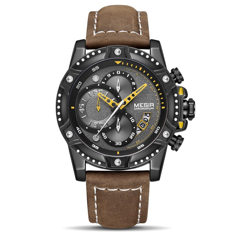 Montre chronographe à quartz analogique d\'affaires pour homme avec bracelet cuir