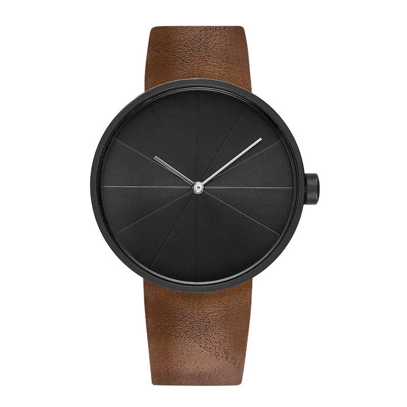 Montre minimaliste en cuir Simple et décontracté pour les hommes