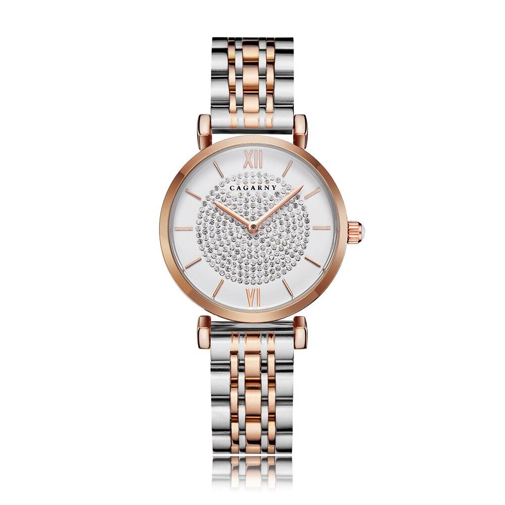 Montre-bracelet pour femme doré Rose Bracelet en acier inoxydable